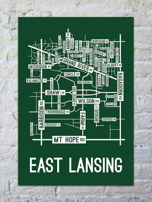 East Lansing, Michigan Street Map Print