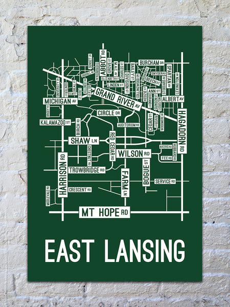 East Lansing Michigan Street Map Print School Street