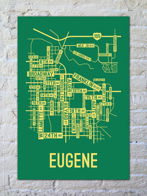Eugene, Oregon Street Map Print