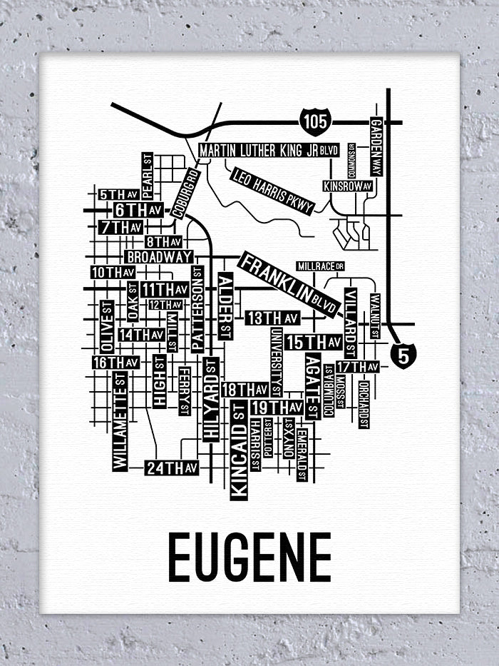 Eugene, Oregon Street Map Canvas