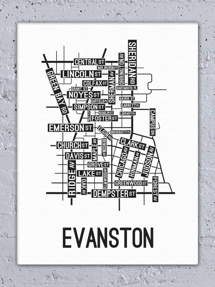 Evanston, Illinois Street Map Canvas