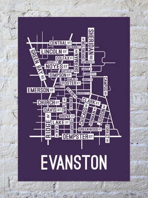 Evanston, Illinois Street Map Screen Print