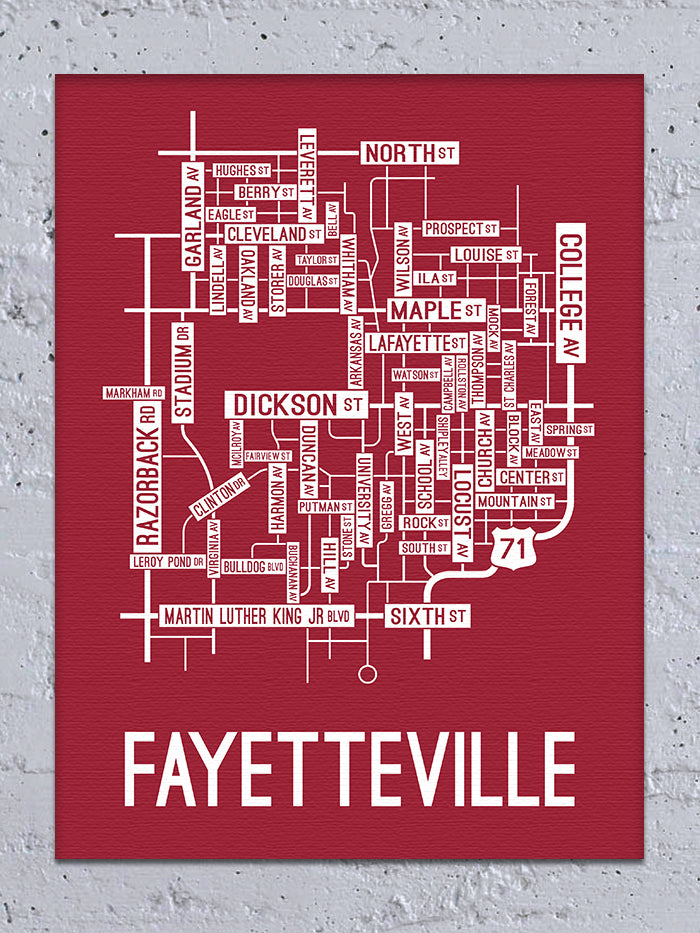 Fayetteville, Arkansas Street Map Canvas