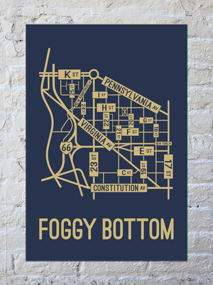 Foggy Bottom, Washington D.C. Street Map Print