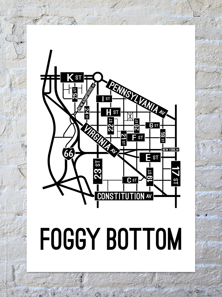 Foggy Bottom, Washington D.C. Street Map Large Poster