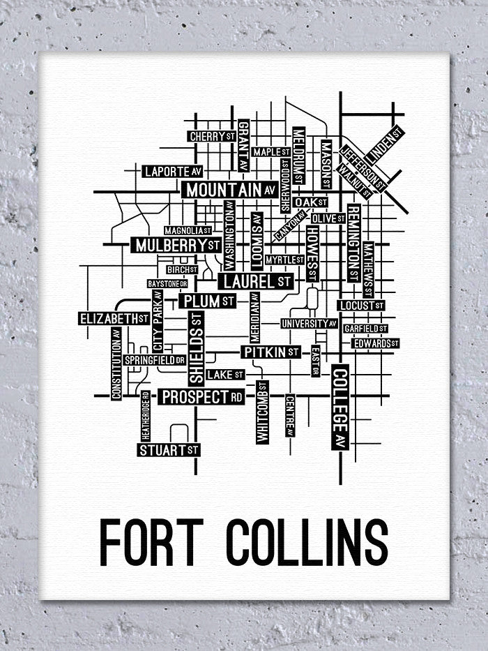 Fort Collins, Colorado Street Map Canvas - School Street Posters