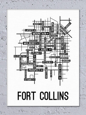 Fort Collins, Colorado Street Map Canvas