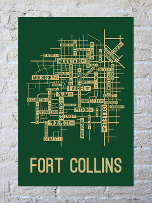 Fort Collins, Colorado Street Map Print