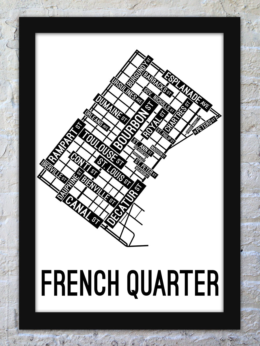 French Quarter, New Orleans Street Map Poster