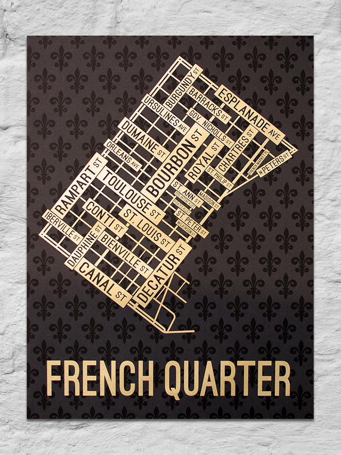 "French Quarter, New Orleans Street Map 18"" x 24"" Screen Print"