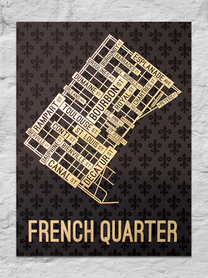 "French Quarter, New Orleans Street Map 18"" x 24"" Black / Gold Screen Print (Limited)"