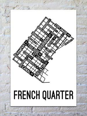 French Quarter, New Orleans Street Map Print