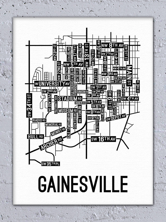 Gainesville, Florida Street Map Canvas