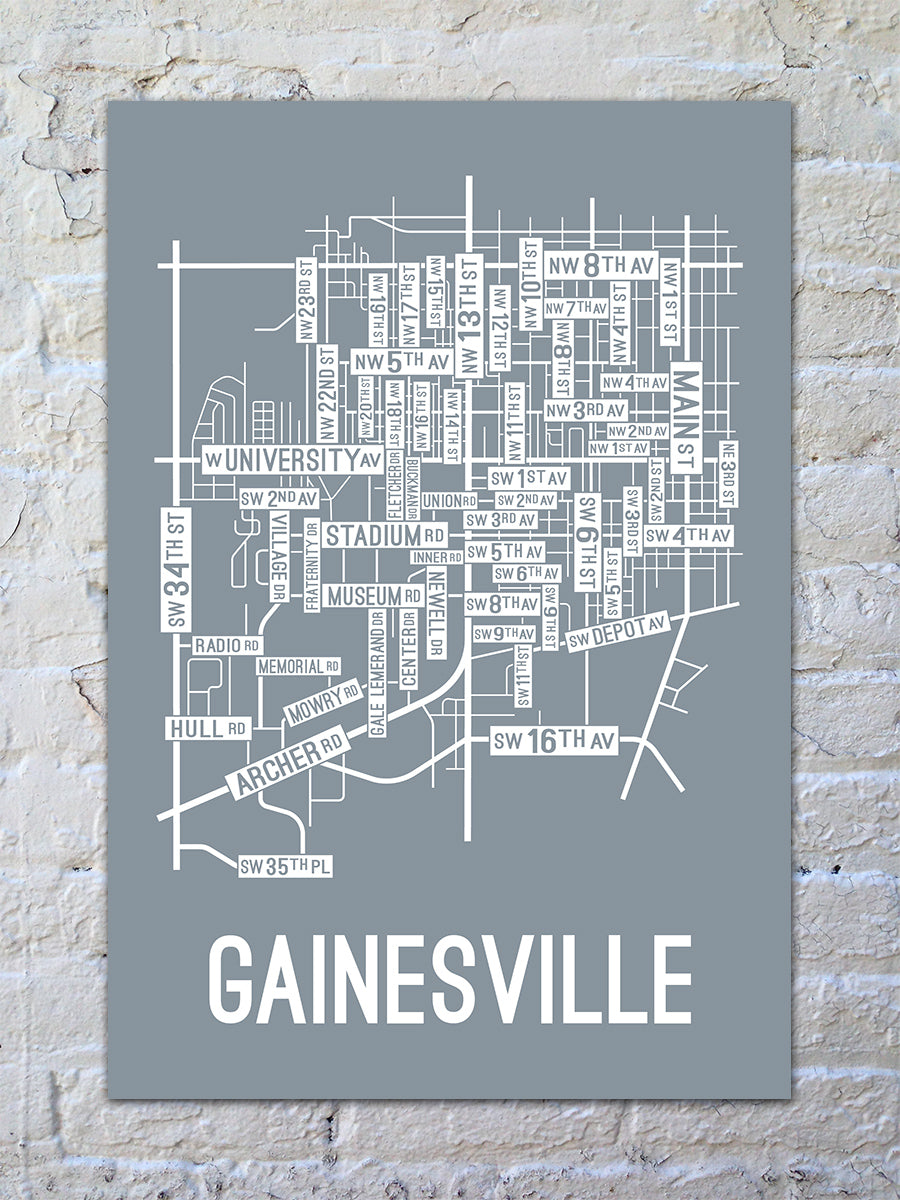 Gainesville, Florida Street Map Print