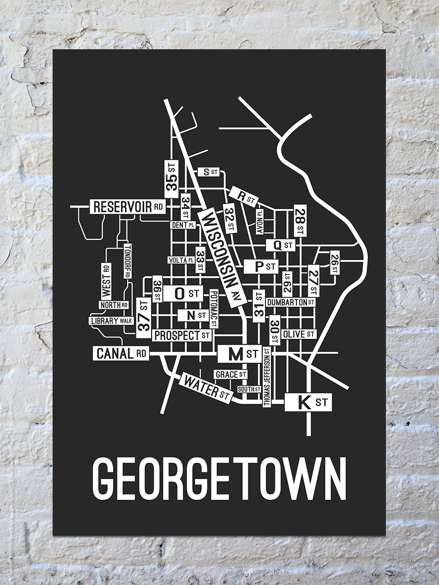 Georgetown, Washington D.C. Street Map Print