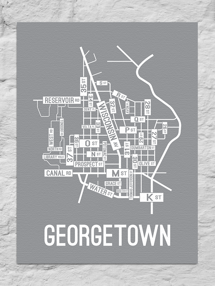 Georgetown, Washington D.C. Street Map Canvas
