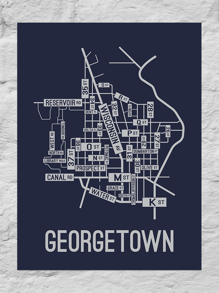 Georgetown, Washington D.C. Street Map Large Poster
