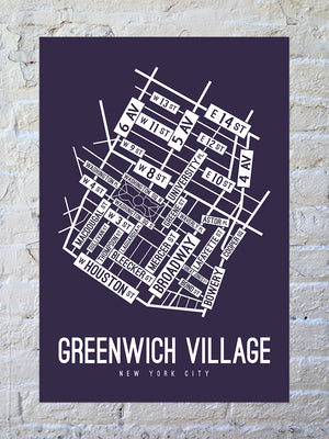 Greenwich Village, New York Street Map Screen Print