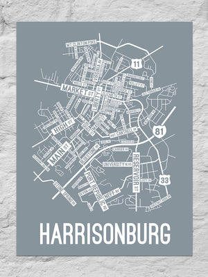 Harrisonburg, Virginia Street Map Poster