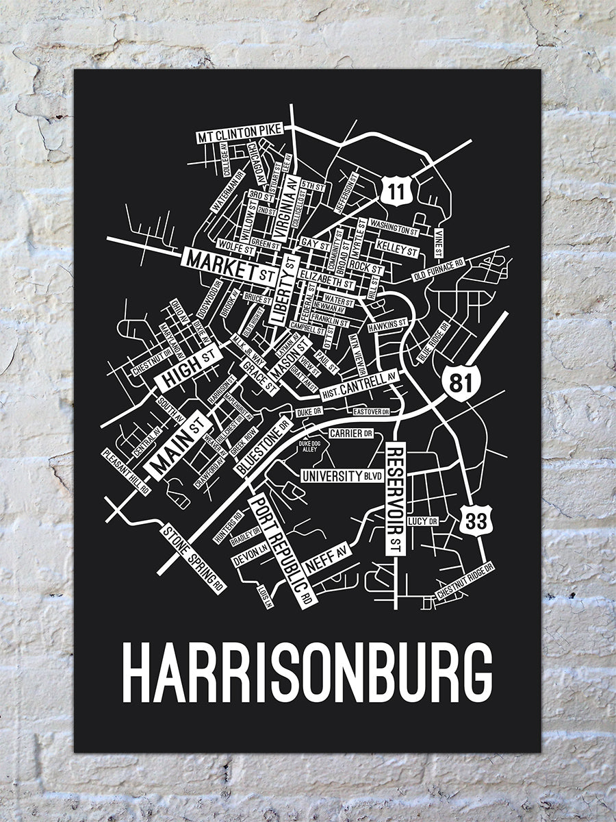 Harrisonburg, Virginia Street Map Print