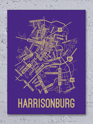 Harrisonburg, Virginia Street Map Canvas