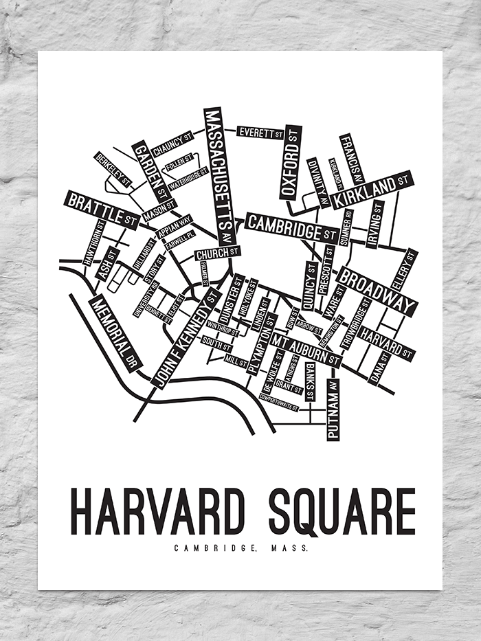 Harvard Square, Cambridge Street Map Canvas