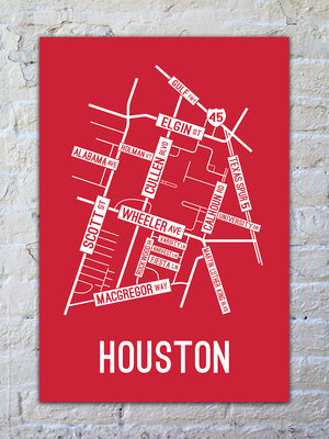 Houston, Texas Street Map Print