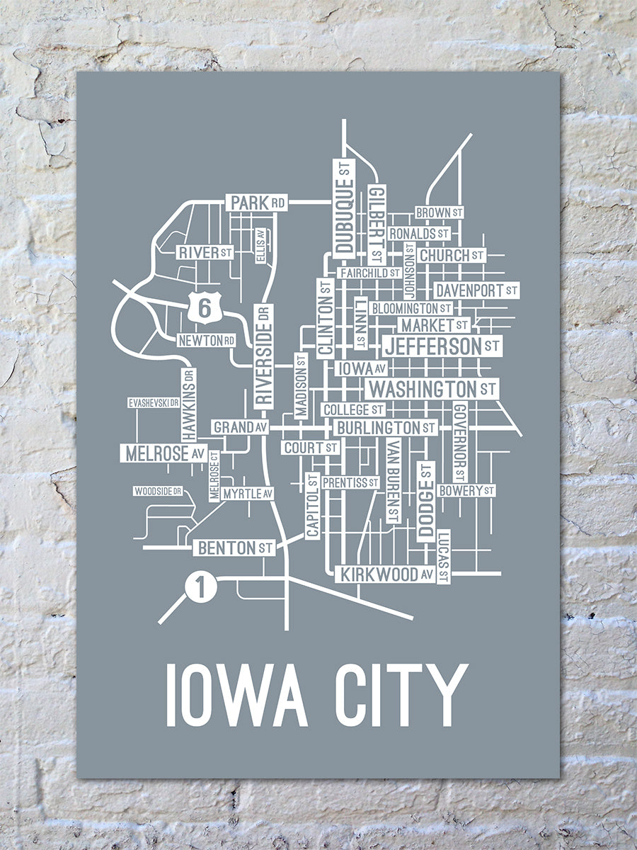Iowa City Iowa Street Map Print School Street Posters