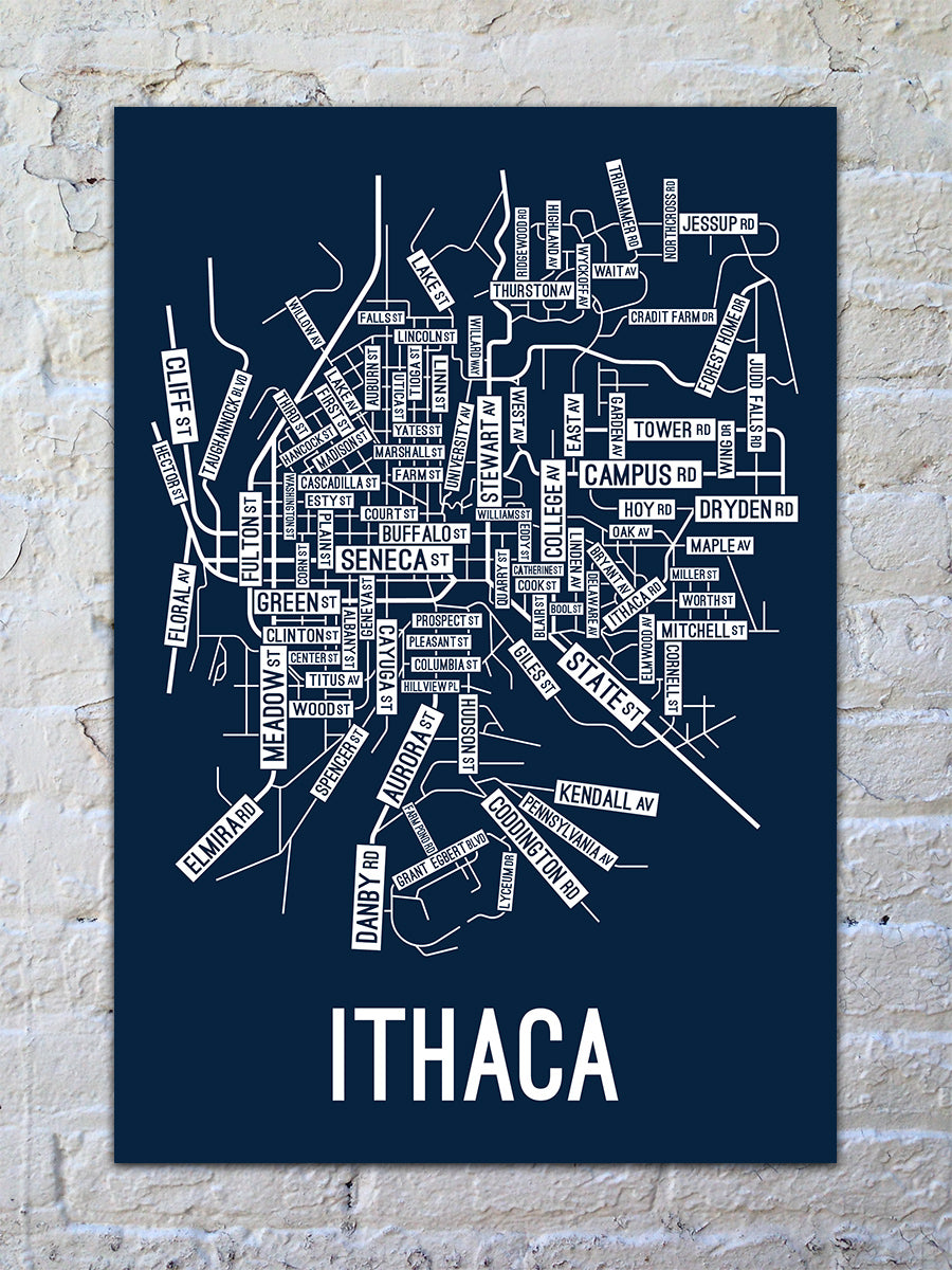 Ithaca, New York Street Map Print