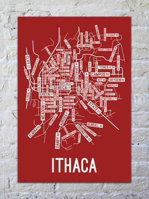 Ithaca, New York Street Map Screen Print