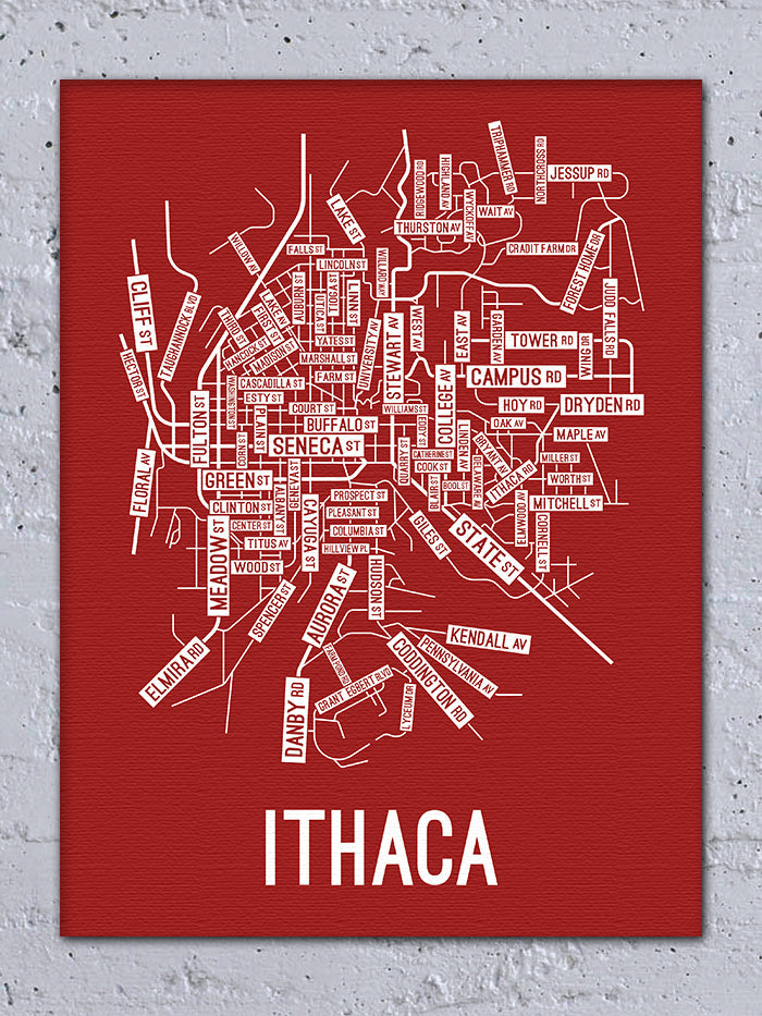 Ithaca, New York Street Map Canvas