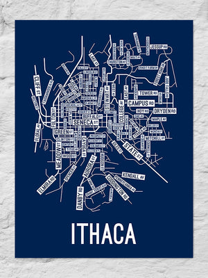Ithaca, New York Street Map Large Poster