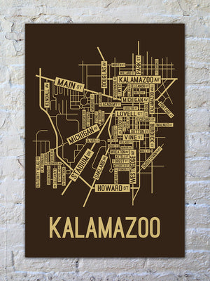 Kalamazoo, Michigan Street Map Print