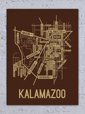 Kalamazoo, Michigan Street Map Canvas