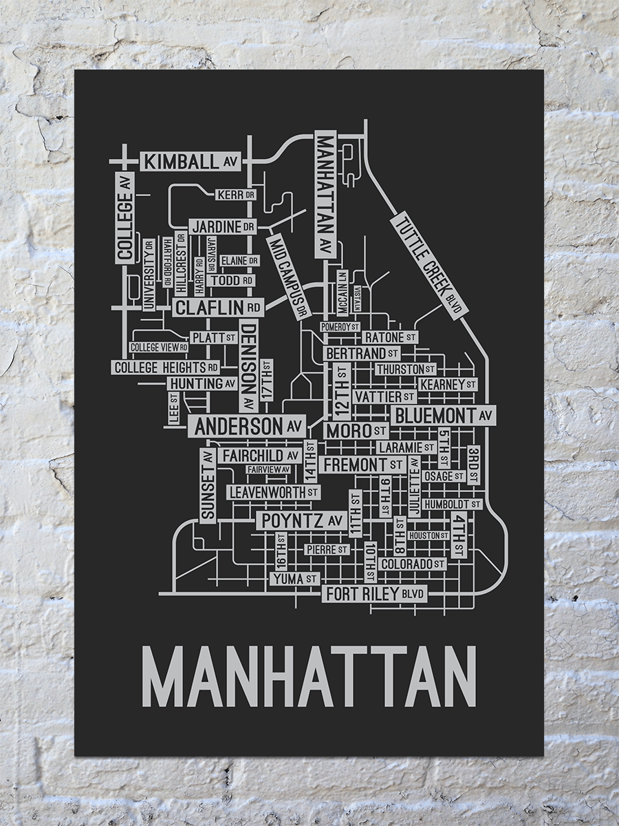 Manhattan, Kansas Street Map Print