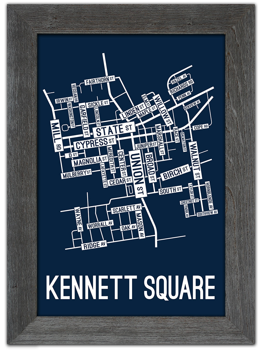 Kennett Square, Pennsylvania Street Map Screen Print
