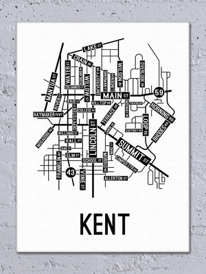 Kent, Ohio Street Map Canvas