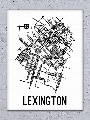 Lexington, Kentucky Street Map Canvas