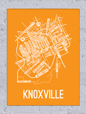 Knoxville, Tennessee Street Map Canvas