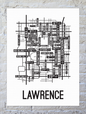 Lawrence, Kansas Street Map Canvas