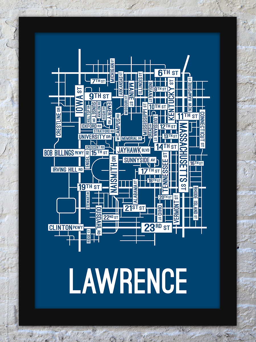 Lawrence, Kansas Street Map Print