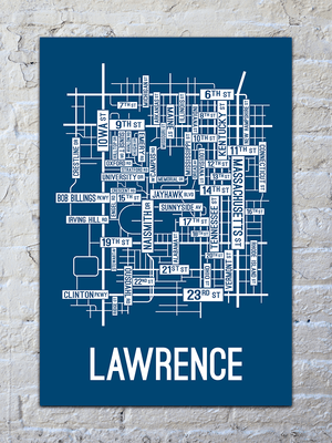 Lawrence, Kansas Street Map Screen Print