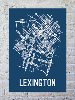 Lexington, Kentucky Street Map Print