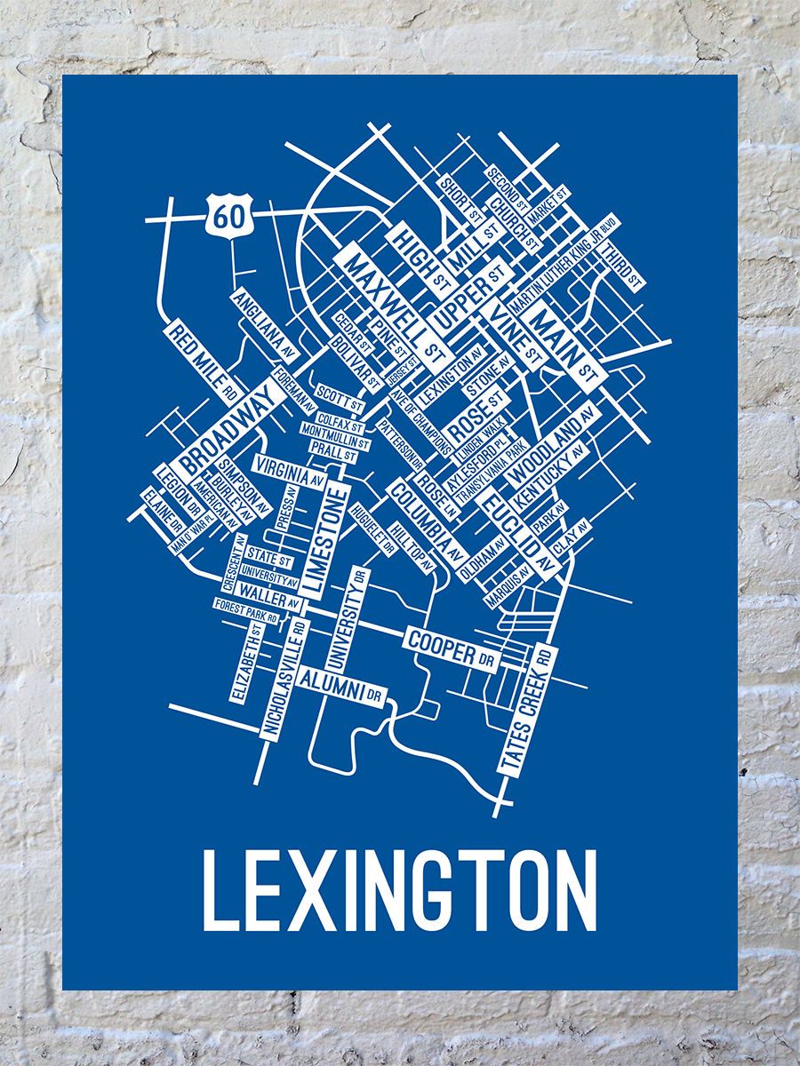 Lexington, Kentucky Street Map Large Poster