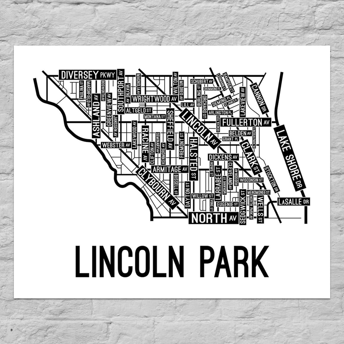 Lincoln Park, Chicago Street Map Poster