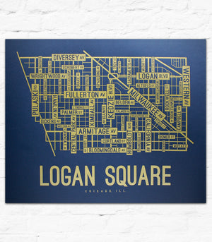 Logan Square, Chicago Street Map Screen Print