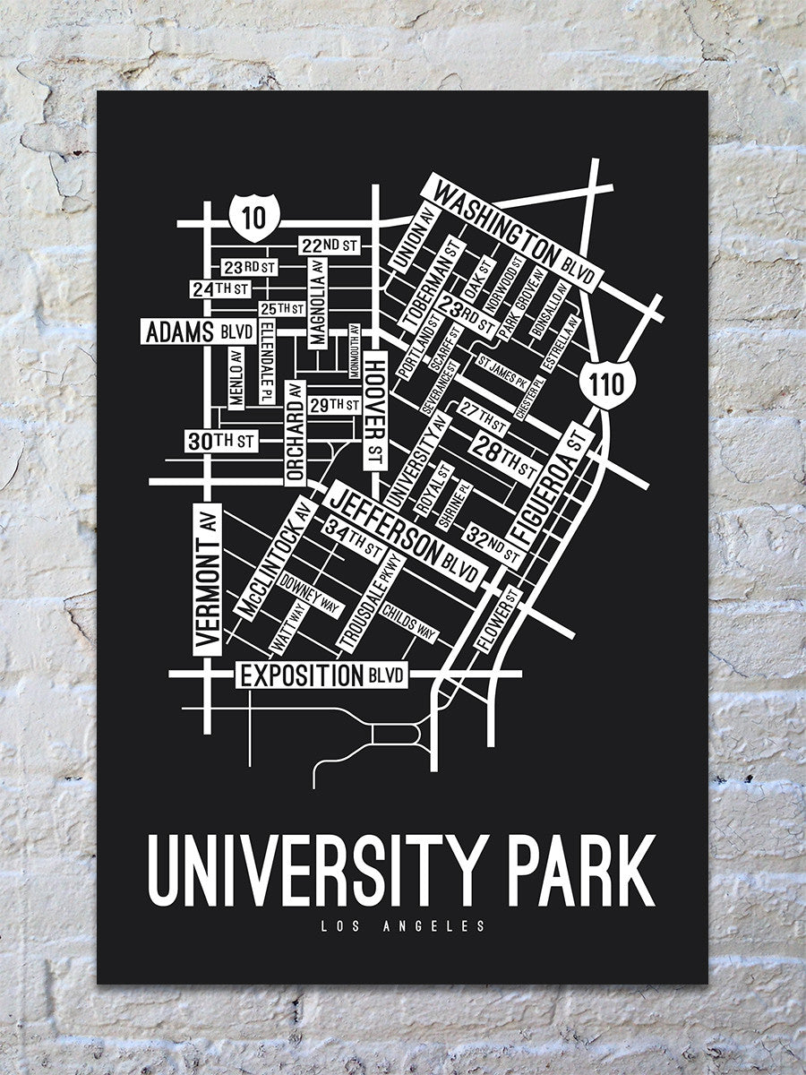 University Park, Los Angeles Street Map Print