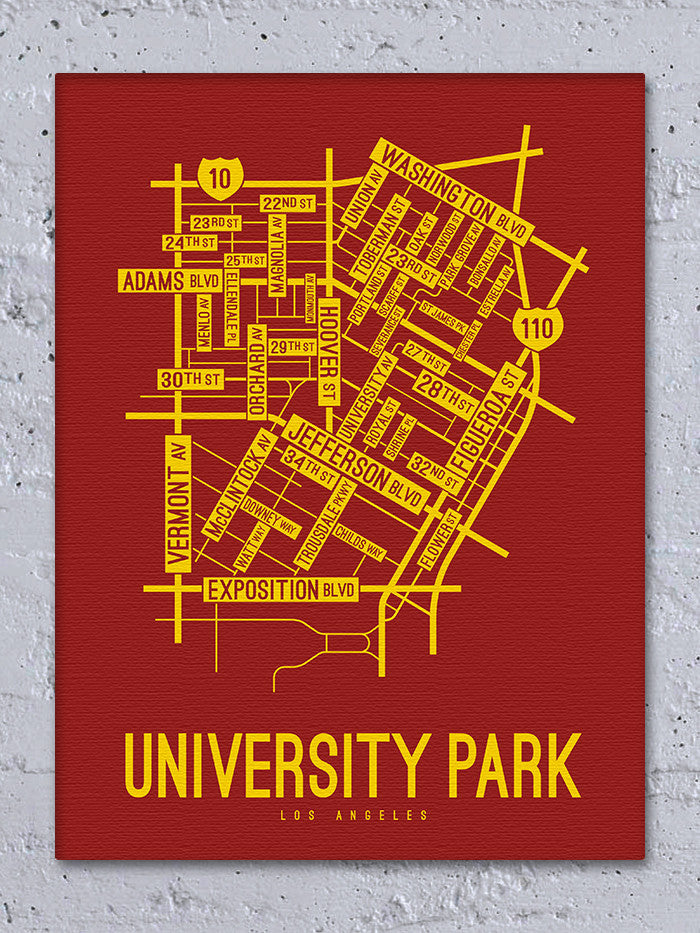 University Park, Los Angeles Street Map Canvas