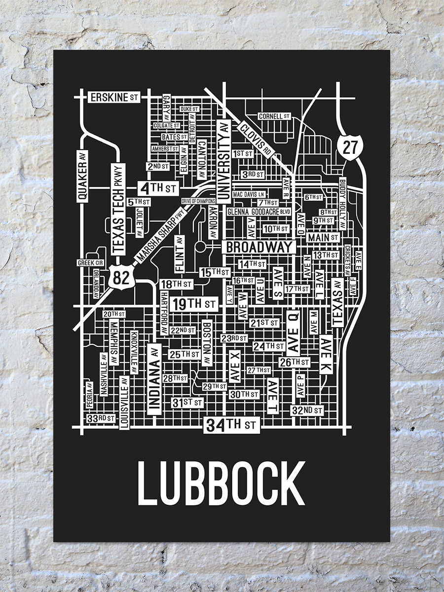Lubbock, Texas Street Map Print