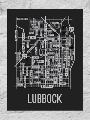 Lubbock, Texas Street Map Large Poster